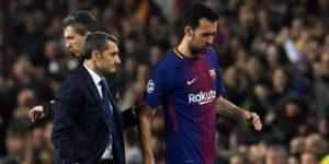 Busquets vuelve a entrenar con el Barça antes del partido ante la Roma