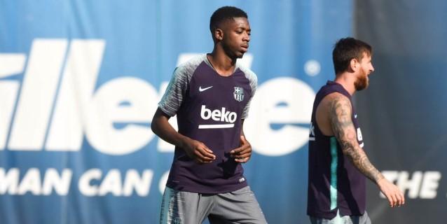 El Barça recibe a Dembelé en el último entrenamiento en la Ciudad Deportiva