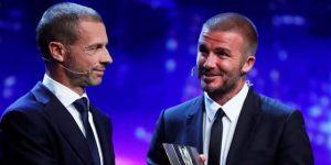 Beckham recoge emocionado el premio Presidente de la UEFA