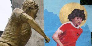 Inauguran mural y estatua de Maradona a metros de donde debutó