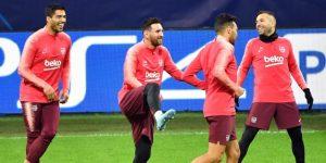 Messi trabaja con el grupo en la víspera del Inter-Barcelona