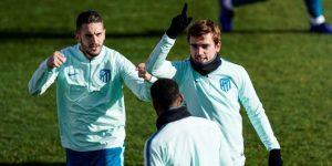 El Atlético ultima su preparación sin Costa, Godín, Giménez y Juanfran