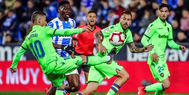 1-0. Un rocoso Leganés supera al Levante en el tránsito hacia la permanencia