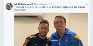 Bolsonaro visitó a Neymar en el hospital y le deseó una rápida recuperación