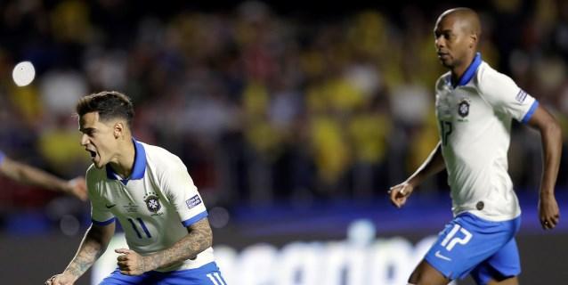 Coutinho, de penalti decretado por VAR, marca el primer gol de la Copa América