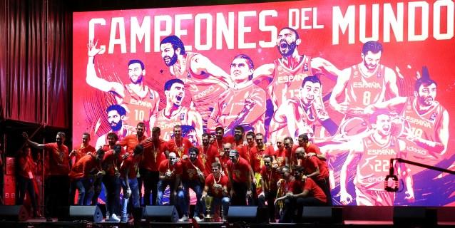 La Selección Española de baloncesto celebró el oro del Mundial en Plaza Colón