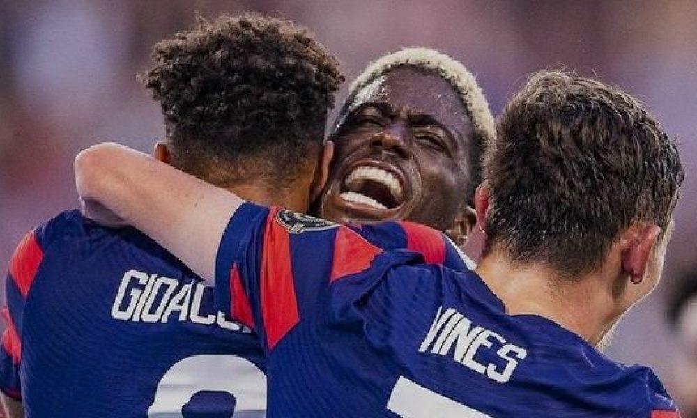 La selección de Estados Unidos se convierte en el primer finalista de la Copa Oro, luego de vencer por la mínima (1-0) a Qatar. El gol de Estados Unidos vino por obra de Gyasi Zardes, en una mala salida de la defensa Qatarí al minuto (86). Foto: Twitter.